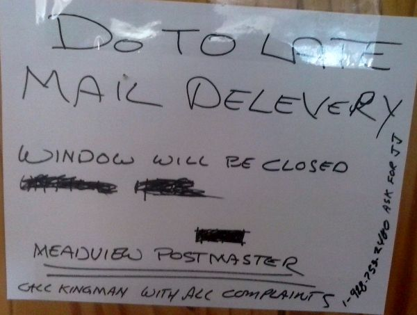 Notice at CLOSED post office window