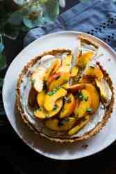 image of vegan peach basil tart