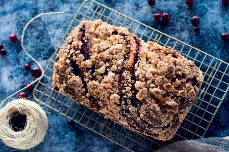 image of diagonal vegan cranberry coconut sourdough babka