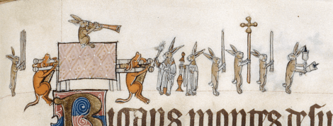 Bunny Funeral, Gorleston Psalter, c. 1320, London, British Library Ms. Add. 49622.