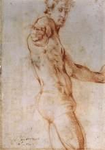Jacopo Pontormo, Seated Nude with Raised Arm, c 1525, Florence, Gabinetto Disegni e Stampe degli Uffizi.