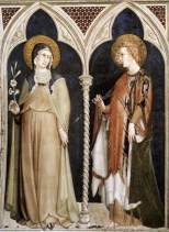 Simone Martini, St Clare of Assisi and St Elizaberth of Hungary, 1317, Saint Martin Chapel, Assisi, San Francesco, Lower Church