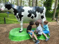 Milking a cow? I guess this is the cow that jumped over the moon? Either way, it was fun and it squirted water!