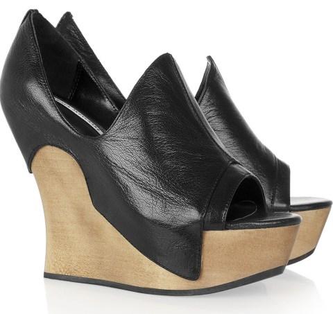 wedge heeled mules