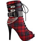 Tartan high heeled boots