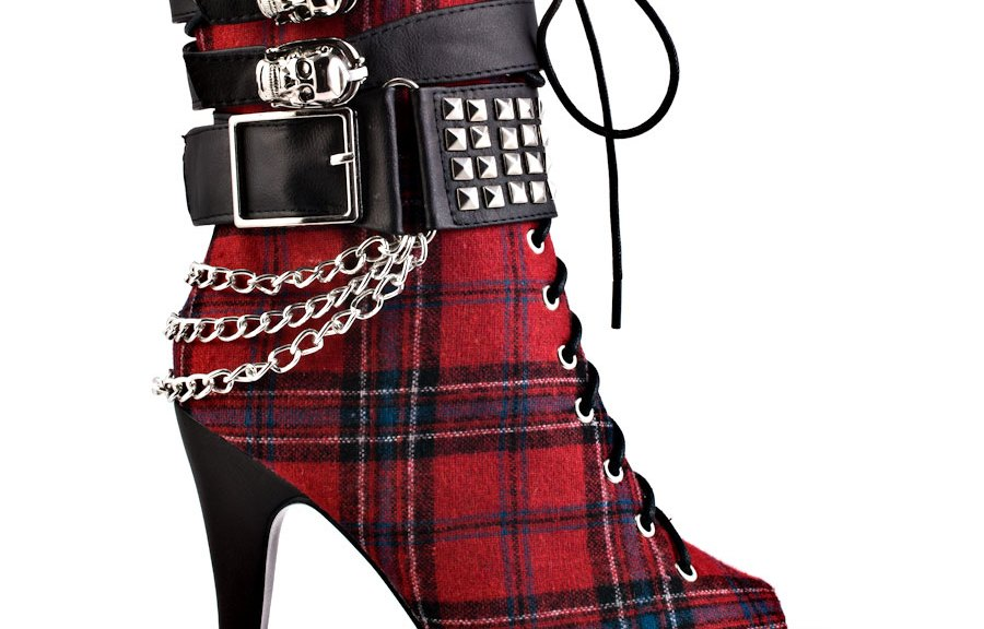 Tartan high heeled boots