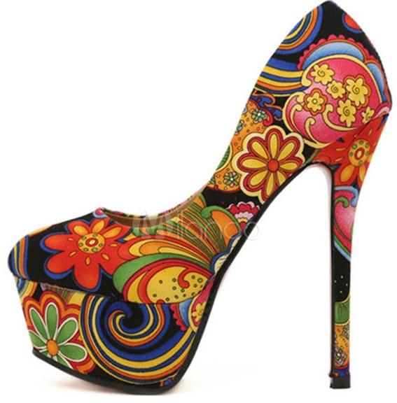 floral high heels