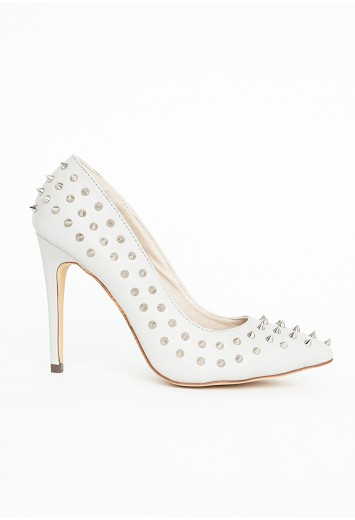 White spike court shoes