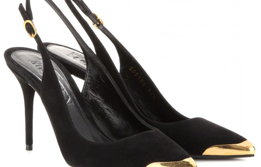 Alexander McQueen's black suede gold metal tip sling backs
