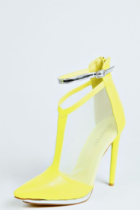 Lime and Metallic T Bar Court Shoes