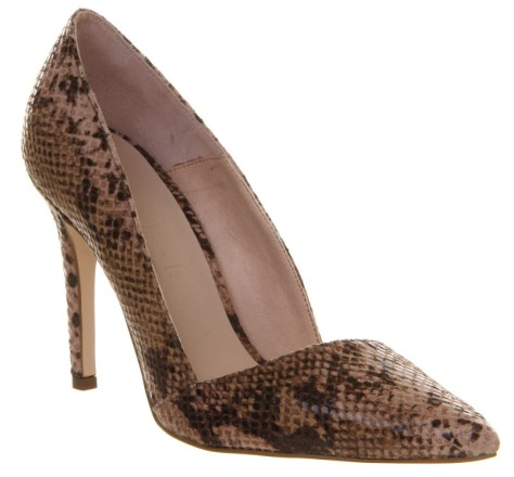 Snakeskin work pumps