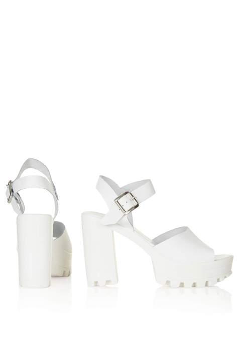 White Topshop High Heel Platform Shoes