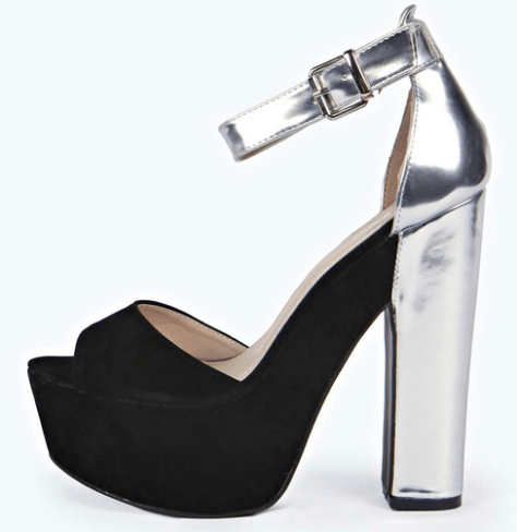 black and silver heels
