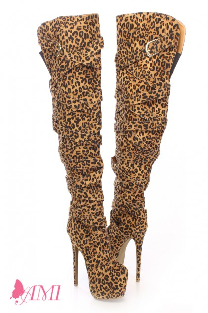 Leopard print wrap around thigh high boots