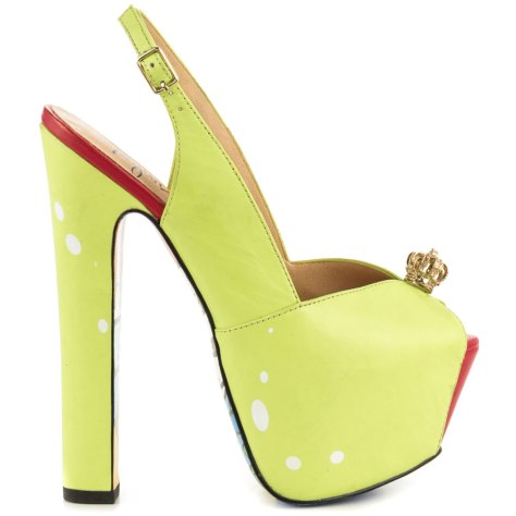 green high heeled shoes