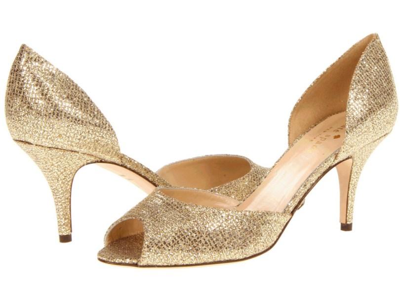 Kate Spade gold stilettos