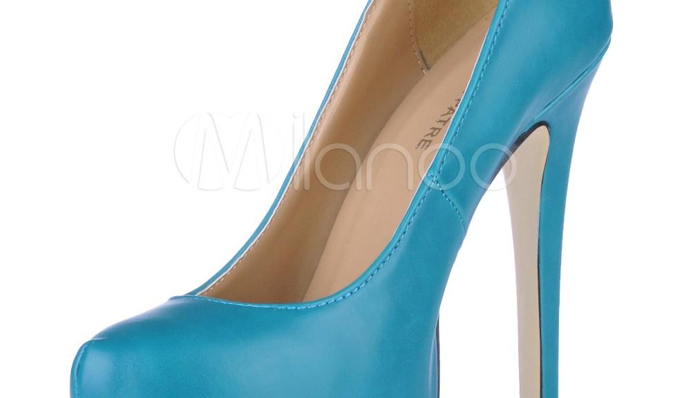 blue stiletto platform pumps