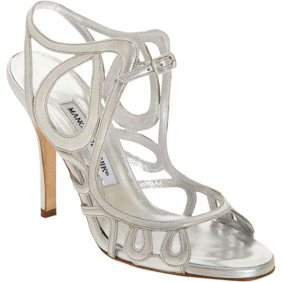 silver high heel