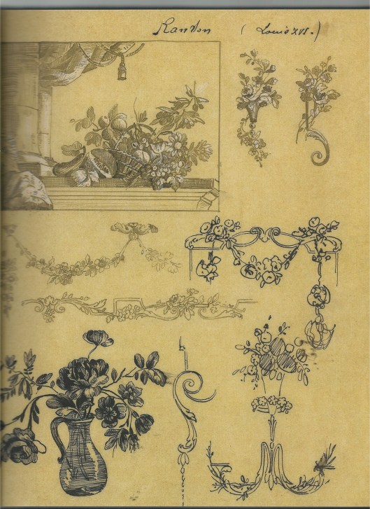 Etude de motifs décoratifs Louis XVI d'après Ranson, Cartier Paris, vers 1910. encre de Chine sur papier transparent. Archives Cartier Paris.