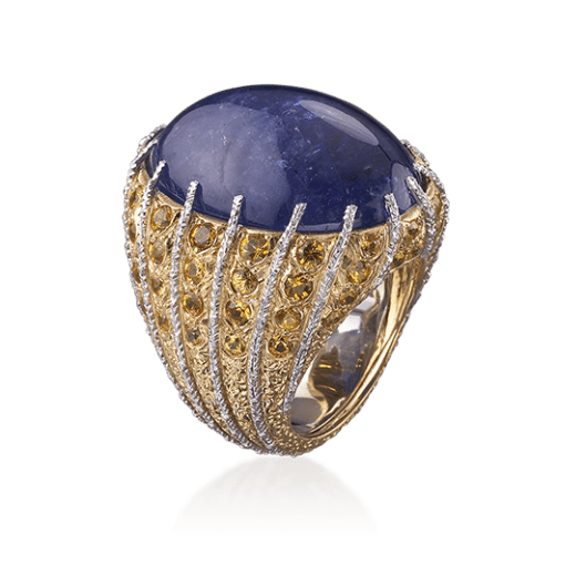 Musone Cocktail Ring in Yellow and white gold with Tanzanite and diamonds