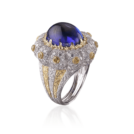Botoletta Cocktail Ring in White and yellow gold with Tanzanite, diamonds and fancy yellow diamonds