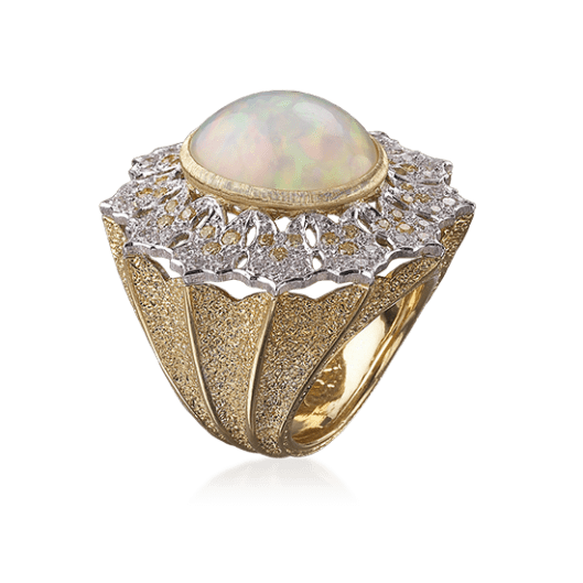 Pagoda Cocktail Ring in White and yellow gold with Opal, diamonds and fancy yellow diamonds