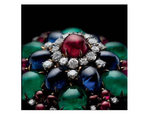 Gold brooch with rubies, emeralds, sapphires and diamonds c. 1960