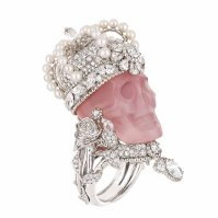 "Dior Joaillerie ""Reine de Quartzie"" pink skull ring. Platinum, diamonds, pink quartz and fine pearls."