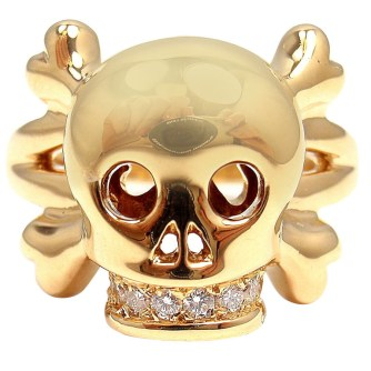 """18k yellow gold """"Tête de Mort"""" diamond skull ring by Dior Fine Jewellery. Smooth skull and crossbones with diamond encrusted teeth, representing eternal love. Very rare. Found on 1stdibs."""