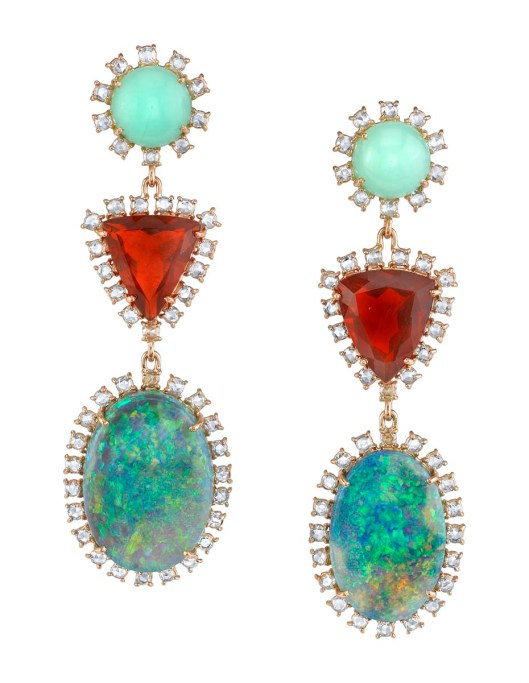 One-of-a-kind Irene Neuwirth earrings in rose gold with mint chrysoprase, Mexican fire opals, Lightning Ridge opals and rose-cut diamonds