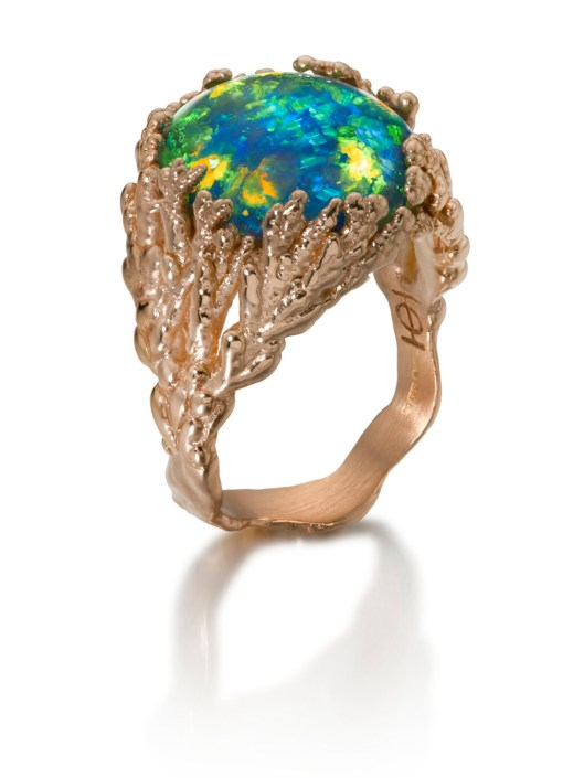 "Ornella Iannuzzi ""Coral Atoll"" ring with a black Australian opal, set in rose gold"