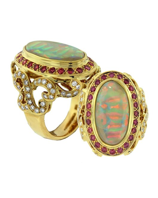 Paula Crevoshay ring in gold, set with a central 5.86ct Brazilian ribbon opal, diamonds and pink diamonds.