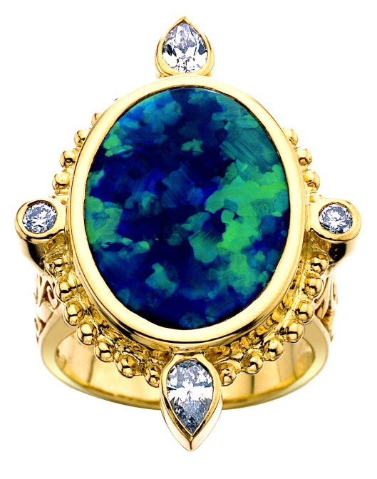 "Paula Crevoshay ""Black Beauty"" ring in yellow gold, set with a 9.96ct black opal from Lightning Ridge"
