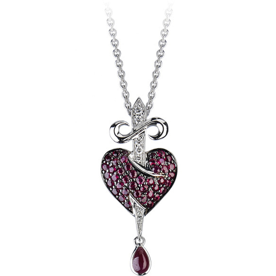 Stephen Webster Bleeding Heart pendant, from the Murder She Wrote collection. 18k white gold, ruby drop, rubies and white diamonds.