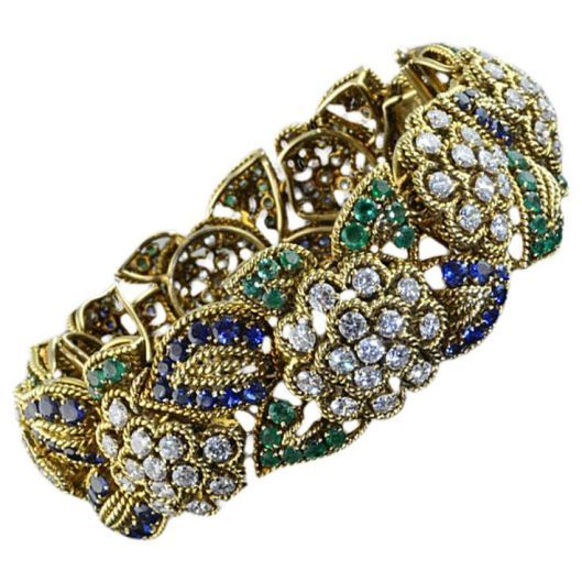 Van Cleef & Arpels 1955 Floral Sapphire Emerald Diamond Gold Bracelet .