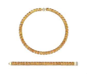 A SET OF RETRO CITRINE JEWELLERY, BY CARTIER  Comprising a necklace designed as a line of rectangular step-cut citrines, to the bow-shaped gold and pavé-set diamond clasp, a bracelet en suite, mounted in gold, 1940s. Estimate US$ 39,741 - $64,840.