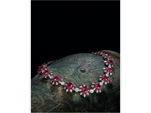 AN IMPRESSIVE RUBY AND DIAMOND NECKLACE, CIRCA 1960