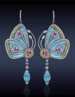 Jacob & Company Papillon Collection. Earrings Blue Topaz, Rose Tourmaline, Pink Tourmaline, Yellow Sapphires, White Diamonds.