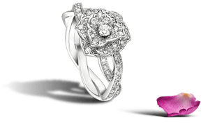 Piaget Rose ring in 18K white gold, set with 71 brilliant-cut diamonds (approx. 0.50 ct).