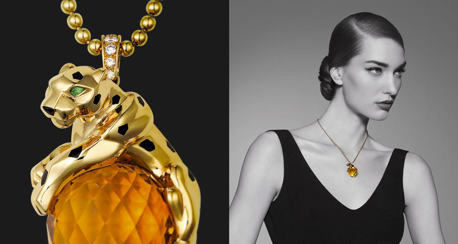Necklace in yellow gold, onyx, black laquer, citrine, tsavorite garnets, diamonds.
