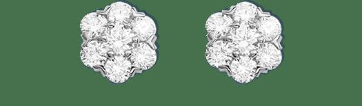 Fleurette earstuds, white gold and diamonds