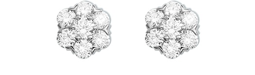Fleurette earstuds, white gold and diamonds