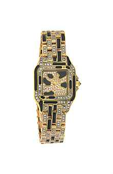 A diamond and enamel 'Panthere' quartz wristwatch, by Cartier The pavé diamond dial, stepped bezel and brick-link bracelet accented with black enamel spots, with reverse-set diamond crown, case back secured by eight screws, to an 18ct gold double deployant clasp, European Convention mark, case 21.0mm wide, maker's travel case Case and clasp signed Cartier, case no. 8057915, 07710. Estimate £ 6,000-8,000.