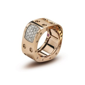 Roberto Coin Pois Moi ring, pink gold 18kt with diamonds (0,28ct)