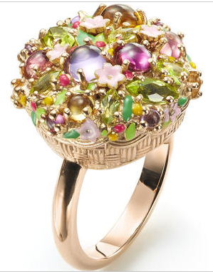 Mattioli Arcimboldino ring, in pink gold, with citrine quartz, amethyst, rhodolite, pink tourmaline and periodot.