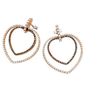 Davite & Delucchi earrings in pink gold, whote gold and white and brown diamonds.