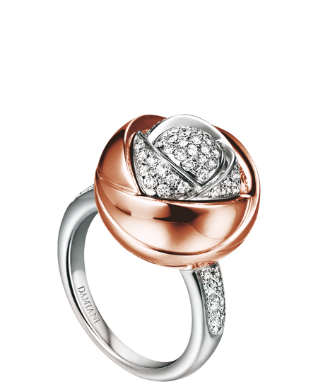 Damiani BOCCIOLO WHITE, PINK GOLD AND DIAMOND (ct 0.46) NECKLACE