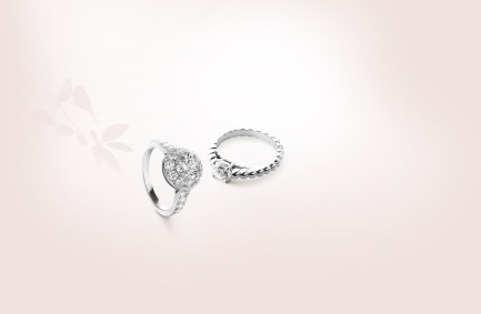 Van Cleef & Arpels Icone Solitaire and Perlée Ring.