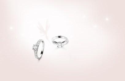 Van Cleef & Arpels Romance Solitaire and Bonheur Solitaire rings.