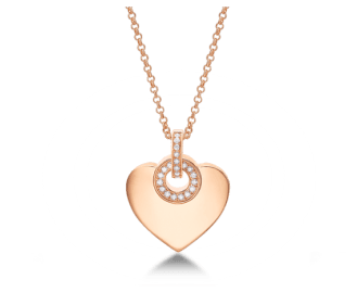 BVLGARI∙BVLGARI CUORE pendant with chain in 18 kt pink gold with pavé diamonds. 41-43 cm long
